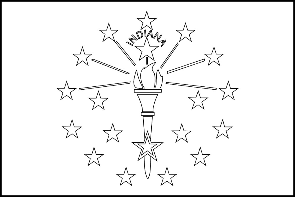 FREE Printable Indiana State Flag & color book pages | 8½ x 11