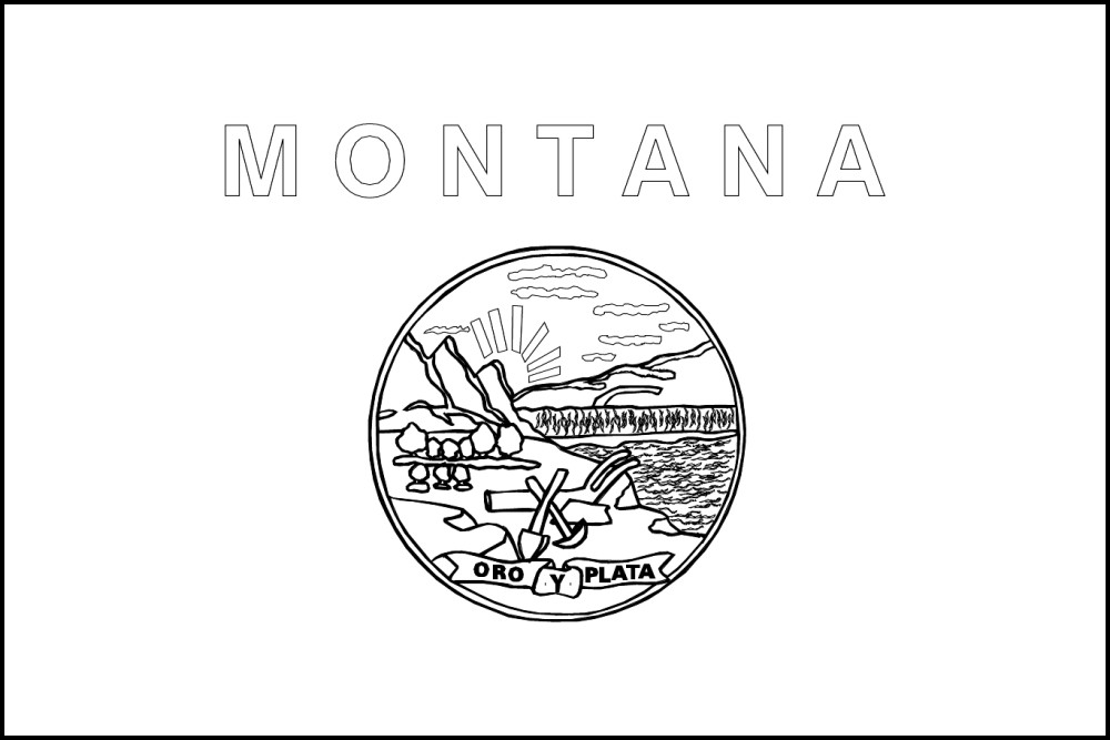 Montana free printable coloring pages ~ FREE Printable Montana State Flag & color book pages | 8½ x 11