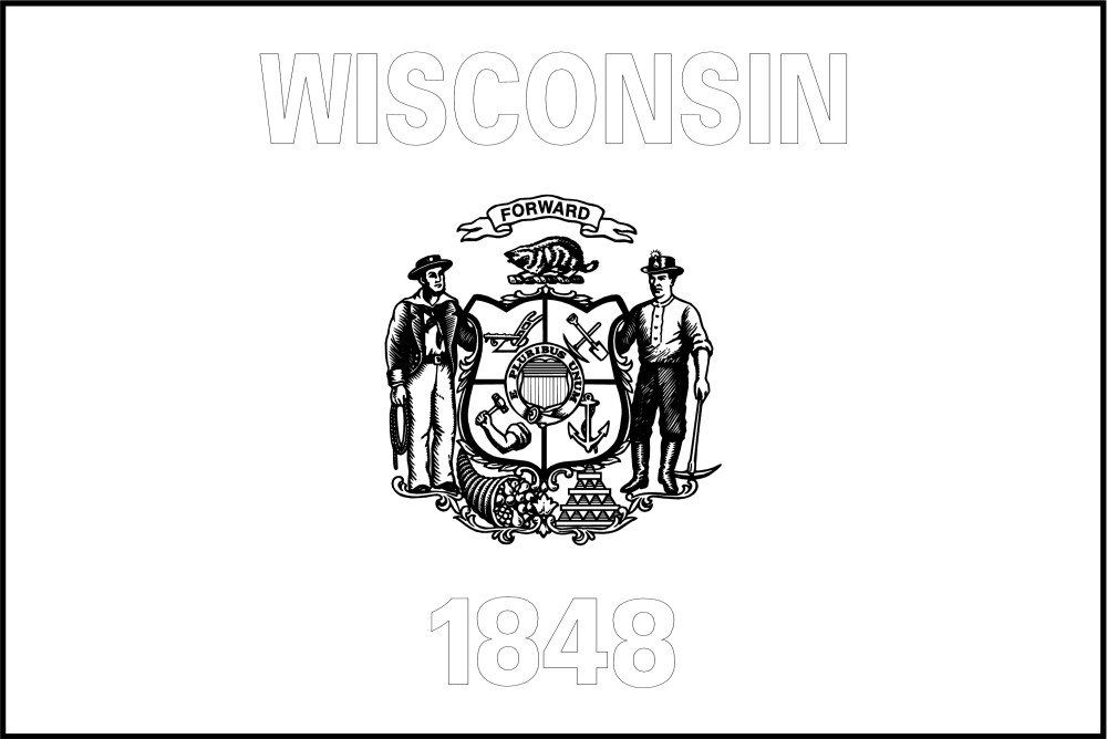 Free Printable Wisconsin State Flag Amp Color Book Pages
