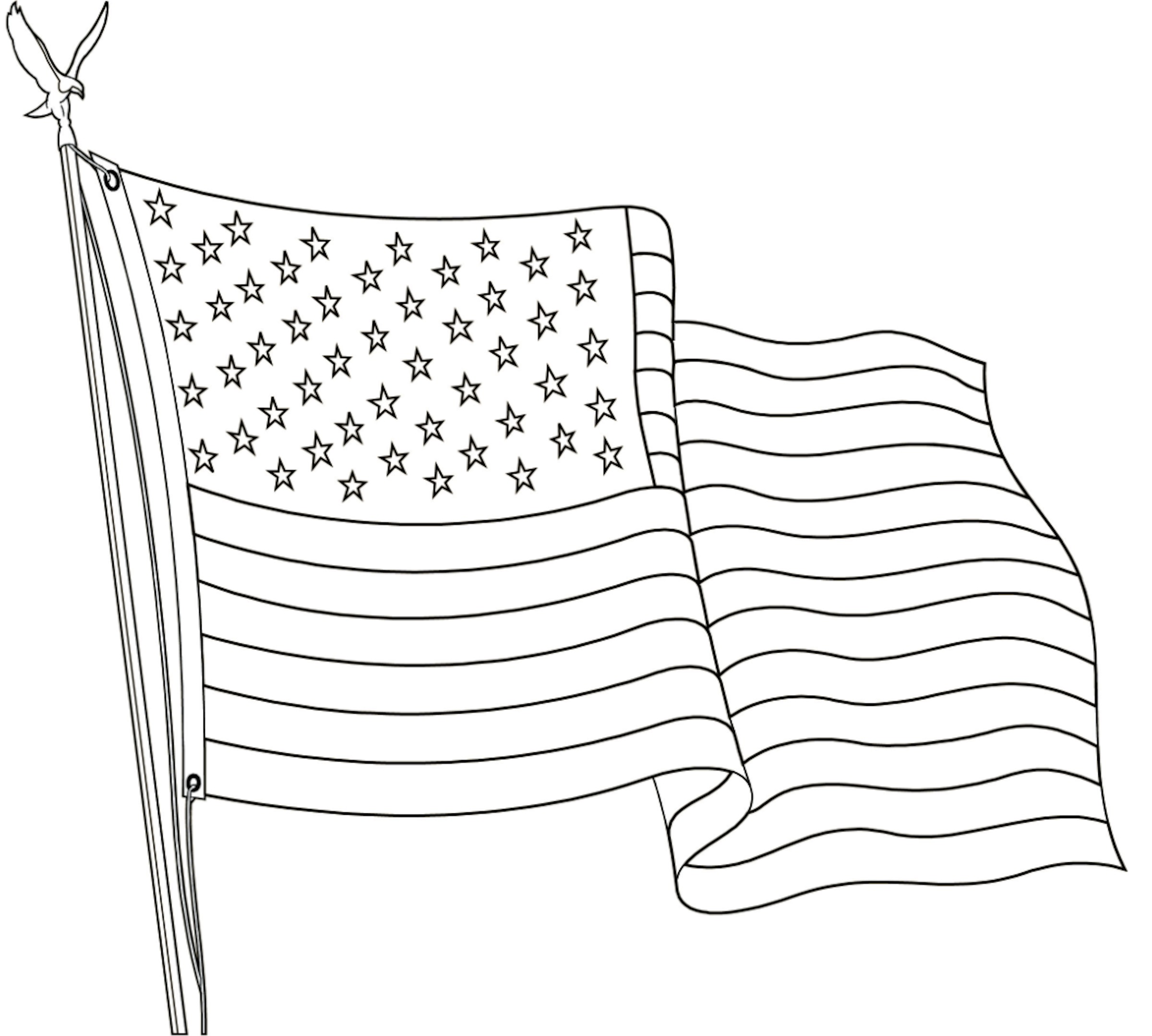 Images of our small US Flag Wave for Coloring