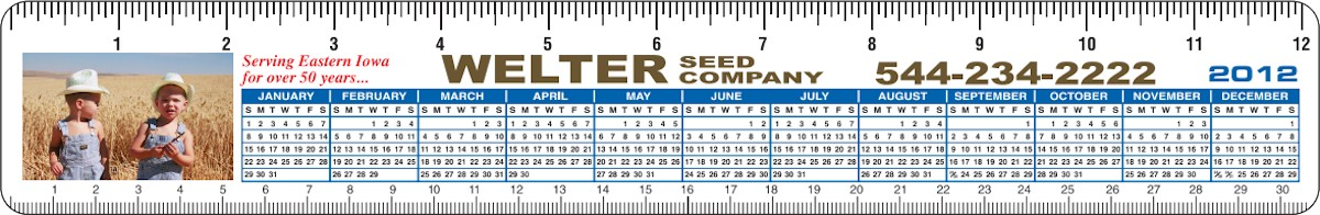 Images of our Custom Printed Rulers No. 1247 with 2019 calendar