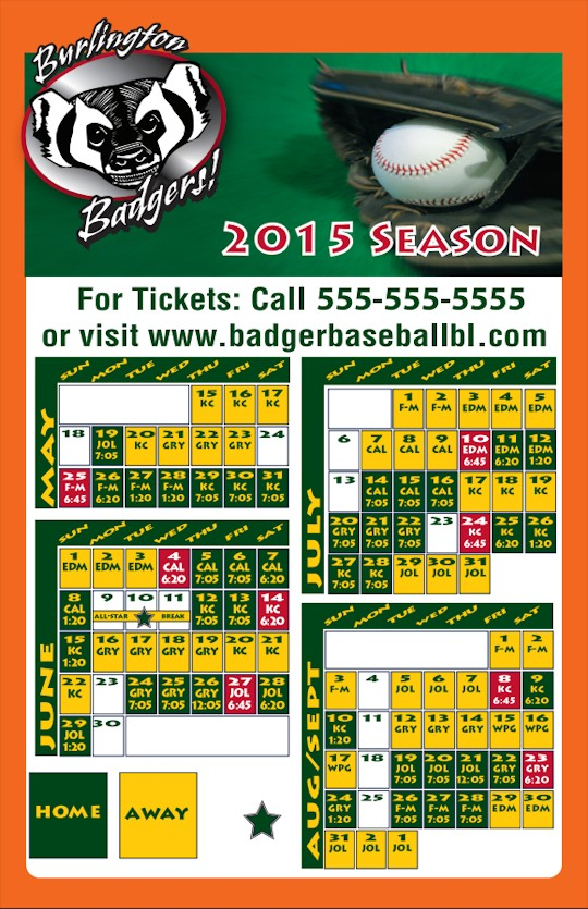 Images of our Team Schedule Magnets No. 3335