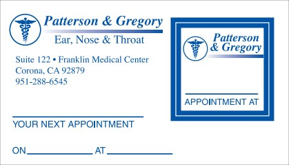 Appointment Card No. 5968 with square removable sticker