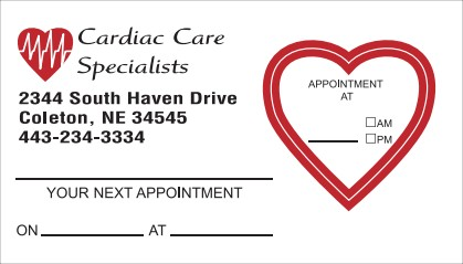 Custom Appointment Card No. 5972 with heart shape removable sticker
