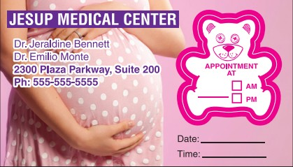 Images of our bear shape Appointment Cards No. 5975