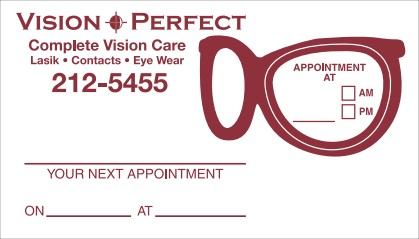Images of our eye glass shape Appointment Cards No. 5976