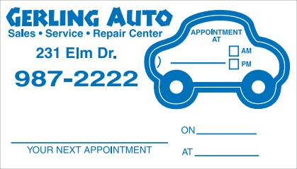 Reminder Appointment Card No. 5979 with car shape removable sticker