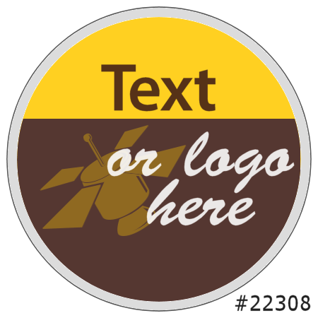 Image of our Number 22308 Round non-adhesive sticker on Clear Static (FACE)
