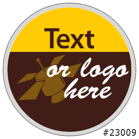 Image of our Number 23009 Round non-adhesive sticker on Clear Static (BACK)